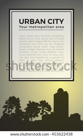 Dark city view silhouette poster template on yellow light background, black trees and high building shadow, white label text box. - stock vector