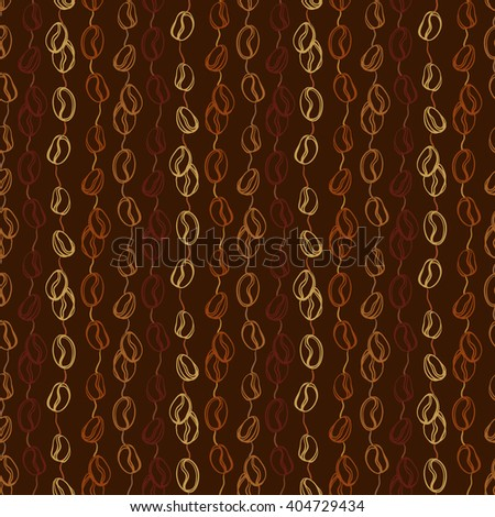 Dark coffee beans seamless pattern. Abstract brown coffee seeds texture background. Black coffee design for coffee shop menu, wrapping paper, fabric, cafe interior design vector illustration - stock vector