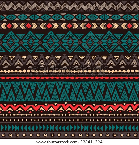 dark color Navajo Ethnic seamless pattern. aztec abstract geometric print. hipster backdrop. Tribal background texture. Wallpaper, cloth design, fabric, paper, wrapping, postcards. hand drawn. - stock vector