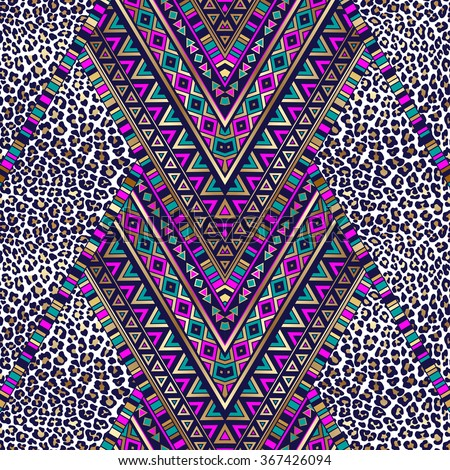 dark color tribal Navajo seamless pattern with leopard texture. aztec abstract geometric vector art print.  ethnic hipster backdrop. Wallpaper, cloth design, fabric, paper, wrapping, textile. - stock vector
