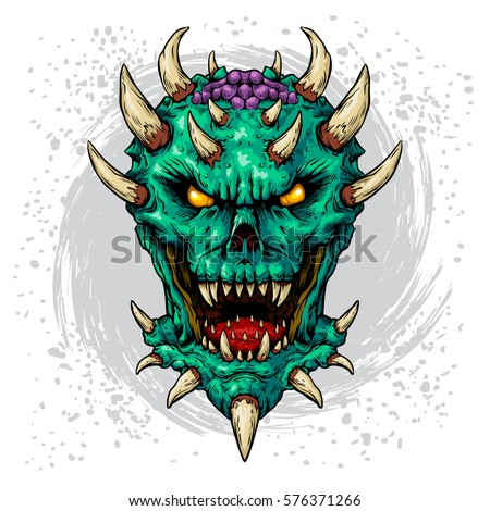 Dark daemon color edition white background vector illustration ink line vector demon art illustration