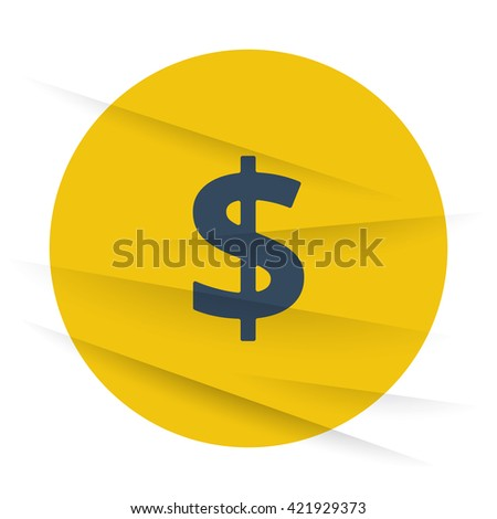 Dark Dollar icon label on wrinkled paper