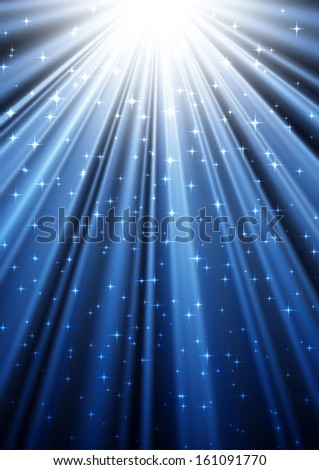 Dark festive background with sparkles and blue rays going from the sky. EPS10 vector. - stock vector