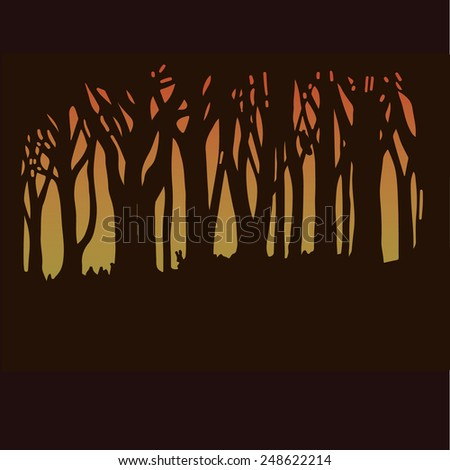 Dark forest in sunset light, silhouettes of trees. EPS10. Vector illustration. Hand drawn.  - stock vector