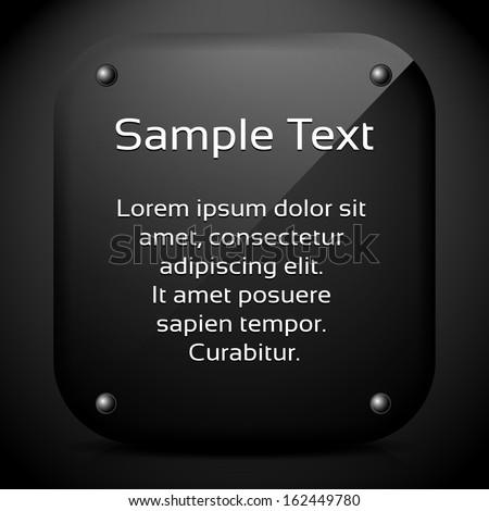 Dark Glossy stone message holder - stock vector