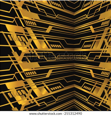 Dark gold yellow color Light Abstract Technology background for computer graphic website internet. circuit
