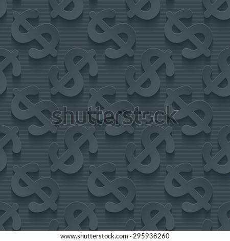 Dark gray currency symbols wallpaper. 3d seamless background. Vector EPS10. See others in My Perforated Paper Sets. - stock vector