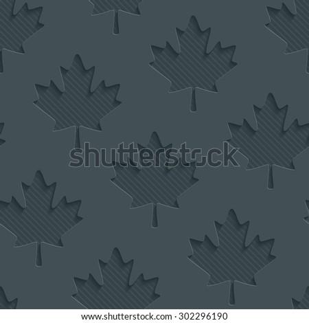 Dark gray maple leaves wallpaper. 3d seamless background. Vector EPS10. - stock vector