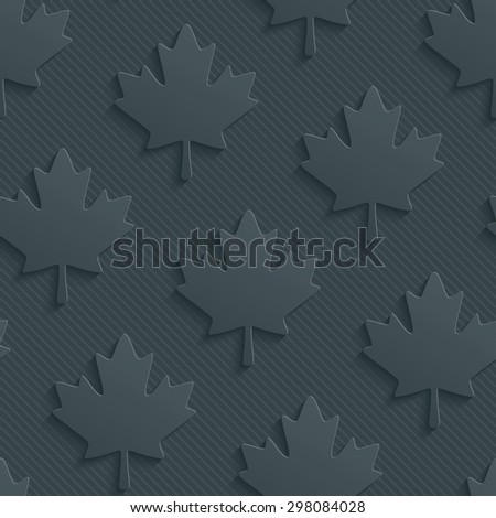 Dark gray maple leaves wallpaper. 3d seamless background. Vector EPS10. See others in My Perforated Paper Sets. - stock vector