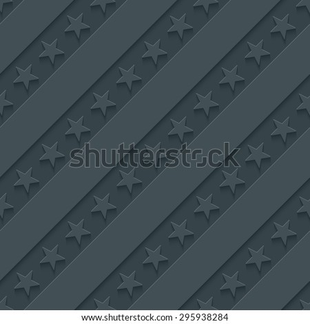 Dark gray stars and stripes wallpaper. 3d seamless background. Vector EPS10. See others in My Perforated Paper Sets. - stock vector