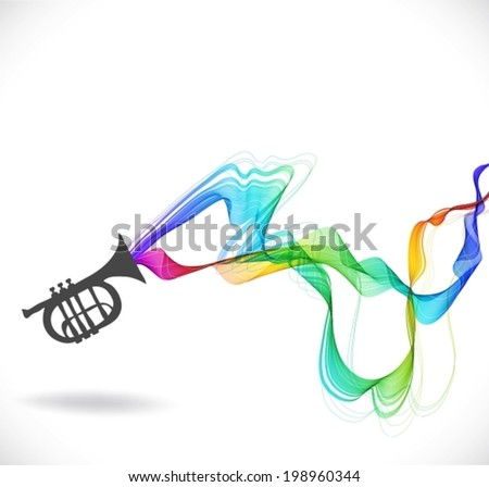 Dark gray trumpet  icon with color abstract wave over white, VECTOR