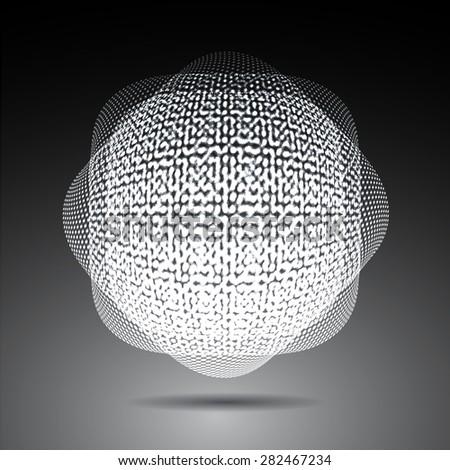 Dark gray white Shining atom scheme. Vector illustration. dark background. digital. infographics. Abstract Technology background for computer graphic website internet. cell - stock vector