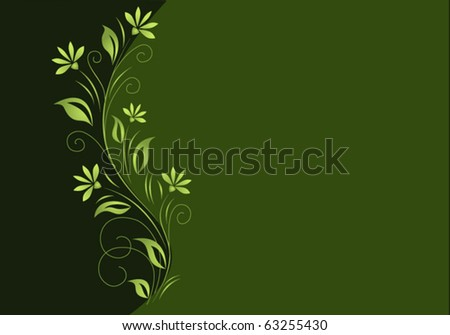 Dark green background with light green floral element. - stock vector