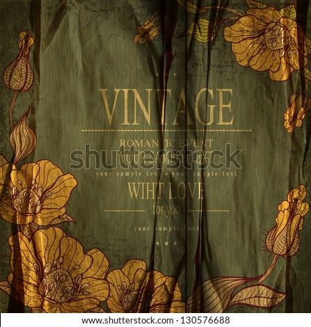 Dark green congratulation vintage vector  background with drawing flowers - stock vector