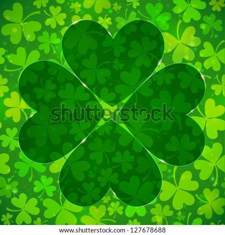 Dark green four-leaf clover shape on light clovers background - stock vector