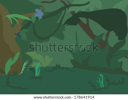 Dark green jungle landscape background. Vector Illustration.