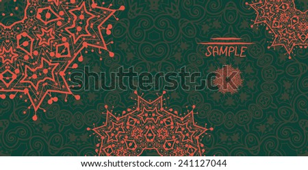 Dark green ornamental frame with mandala like stylized flowers in red color. A lot of copyspace. Tribal art inspired design. Flyer card template. - stock vector