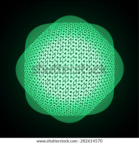 Dark green Shining atom scheme. Vector illustration. dark background. digital. infographics. Abstract Technology background for computer graphic website internet - stock vector