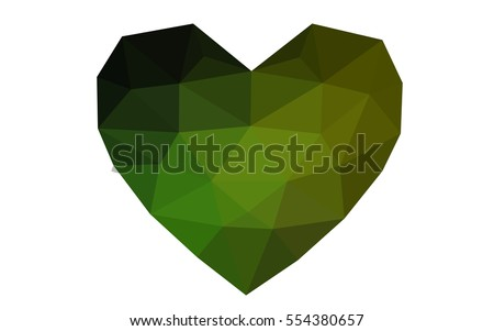 Dark Green, yellow heart isolated on white background. Geometric rumpled triangular low poly origami style gradient graphic illustration. Vector polygonal design for your business.