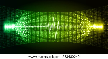 Dark green yellow Sound wave background suitable as a backdrop for music, technology and sound projects. Blue Heart pulse monitor with signal. Heart beat. - stock vector