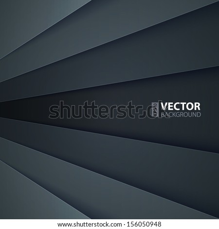 Dark grey paper layers abstract vector background. RGB EPS 10 vector illustration - stock vector
