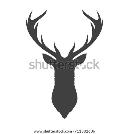 Dark Grey Silhouette Deer Head Antlers Stock Vector (2018) 711382606 ...