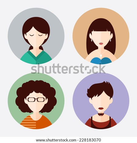 Dark-haired female characters icons set in a flat style. - stock vector