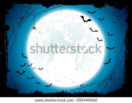 Dark Halloween background with Moon on blue sky, spiders and bats, illustration. - stock vector