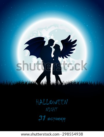 Dark Halloween night with enamored couple of angel and devil, full Moon on the sky background, illustration.  - stock vector
