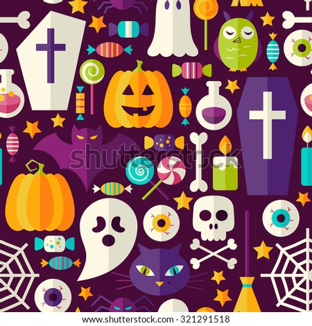 Dark Halloween Party Seamless Pattern. Flat Style Vector Seamless Texture Background. Halloween Holiday Template. Trick or Treat - stock vector