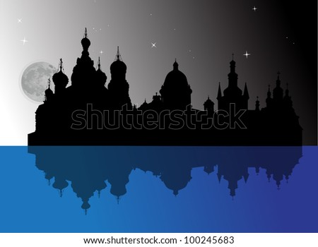 dark illustration with cathedrals at night