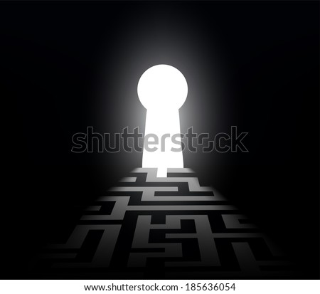 dark labyrinth with exit to the keyhole - stock vector