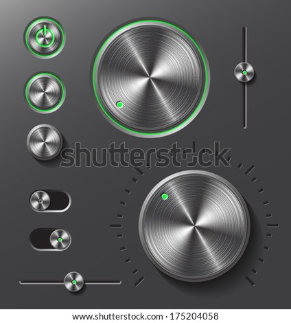 Dark metal buttons and dials with green led light set.  - stock vector