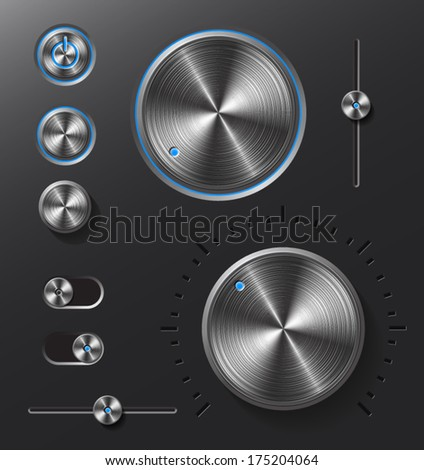 Dark metal buttons and dials with neon blue led light set.  - stock vector
