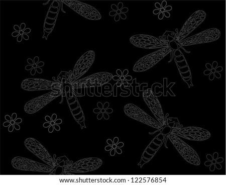 Dark monochrome vector pattern with dragonflies - stock vector