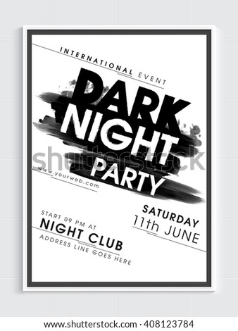 Dark Night Party Template, Dance Party Flyer, Night Party Banner or Club Invitation design with date and time details. - stock vector