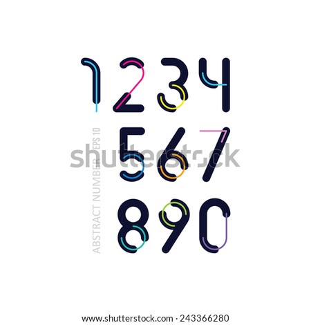 dark numbers  with thin bright lines - stock vector