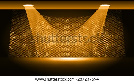 Dark orange Abstract light lamps background for Technology computer graphic website internet and business.. Screen on stage. Vector illustration.Spot Effect. neon. point, platform, Spotlights - stock vector