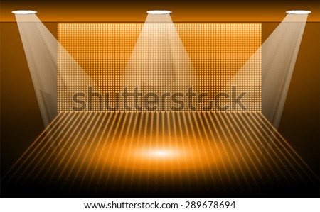 Dark orange Abstract light lamps background for Technology computer graphic website internet and business.. Screen on stage. Vector illustration.Spot Effect. neon. point, platform, Spotlights. arena - stock vector