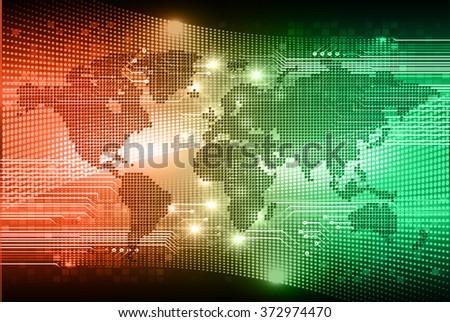 dark orange green Light Abstract Technology background for computer graphic website internet business. circuit. illustration.digital.infographics. binary code. zero one. eye scan virus vector world - stock vector