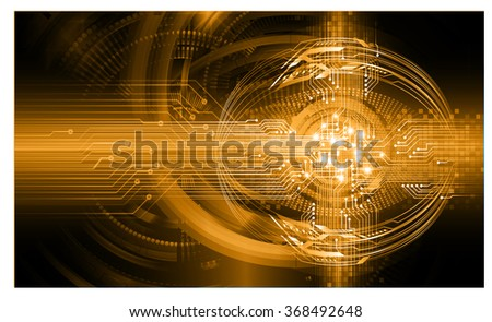 dark orange Light Abstract Technology background for computer graphic website internet and business. circuit. illustration.digital.infographics. binary code. zero one. eye. scan virus vector - stock vector