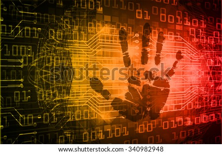 dark orange red Abstract digital conceptual technology security background with lock. computer technology website internet web. infographics. fingerprint. Finger-print scanning. Hand print. vector - stock vector