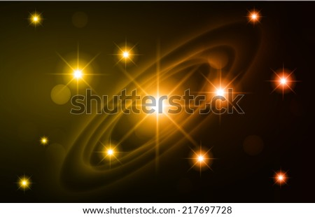 Dark orange sparkling background with stars in the sky and blurry lights, illustration. Abstract, Universe, Galaxies, ring.  - stock vector