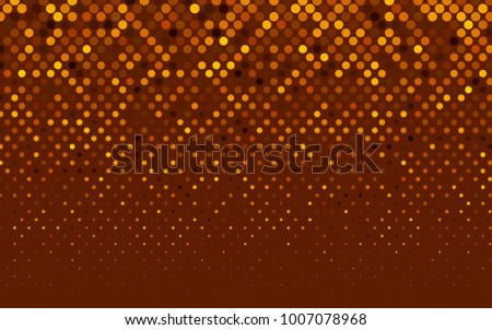 Dark Orange vector red pattern of geometric circles, shapes. Colorful mosaic banner. Geometric background with colored disks.