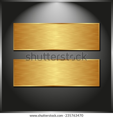 dark panel with two golden banners - stock vector