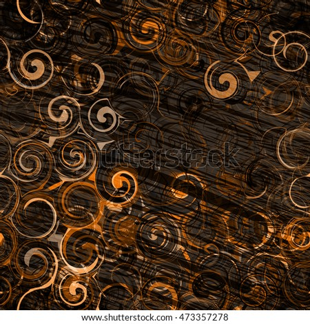 Dark pattern of spirals & strokes on a brown backdrop. Seamless vector background for fabric and wrapping