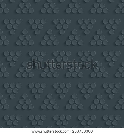 Dark perforated paper with cut out effect. Abstract 3d seamless background. Vector EPS10. - stock vector