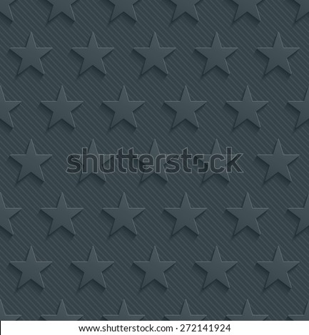Dark perforated paper with cut out effect. 3d stars seamless background. Vector EPS10.