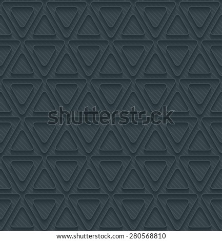 Dark perforated paper with outline extrude effect. 3d seamless background. See others in My Perforated Paper Sets. - stock vector