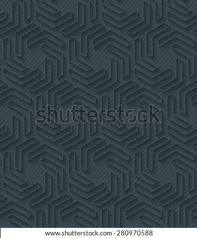 Dark perforated paper with outline extrude effect. 3d seamless background. Vector EPS10. - stock vector